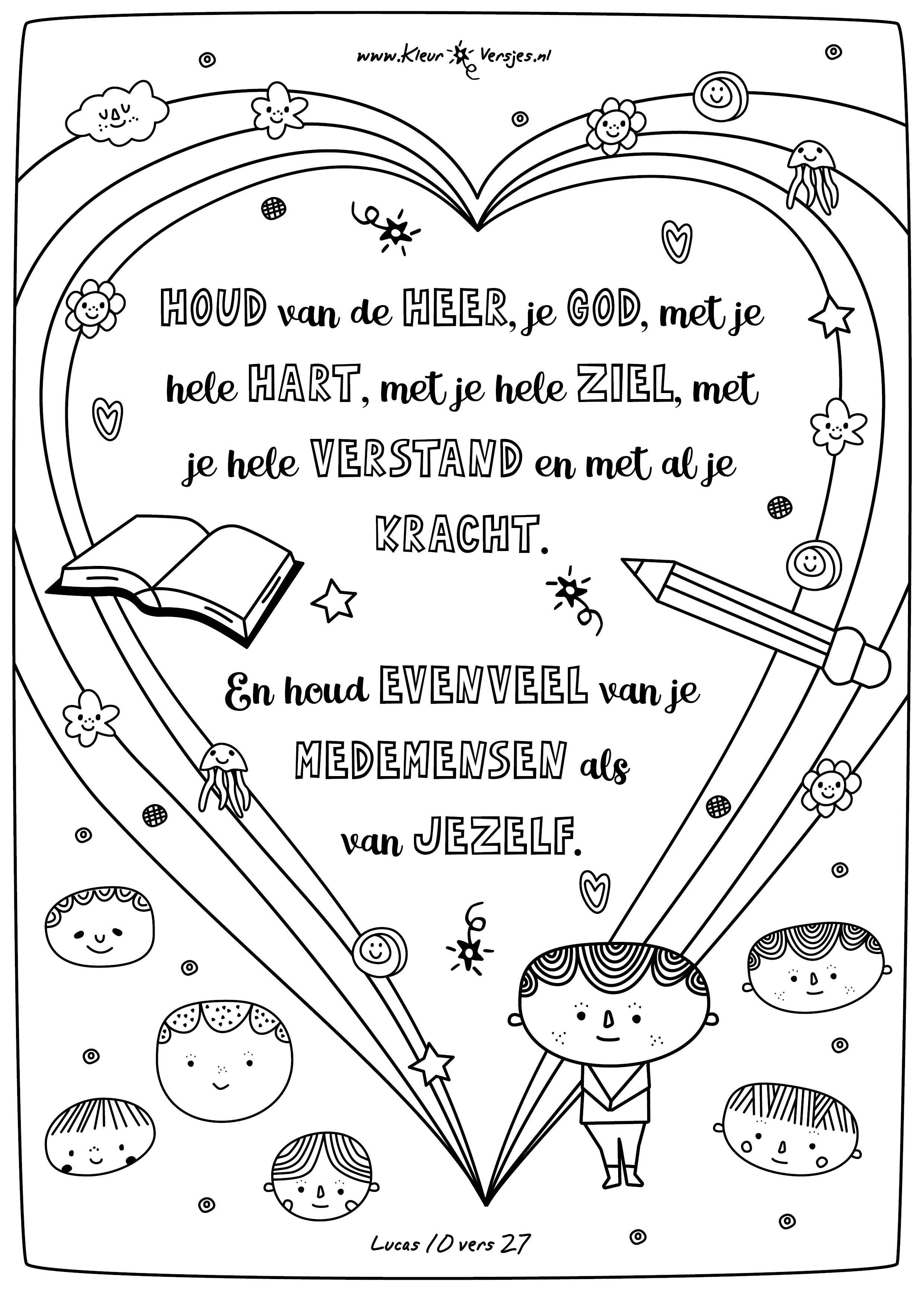 074 Houd Van De Heer Je God Kleurversjes Nl Bijbel Kleurplaten Bijbel Spelletjes De Heer