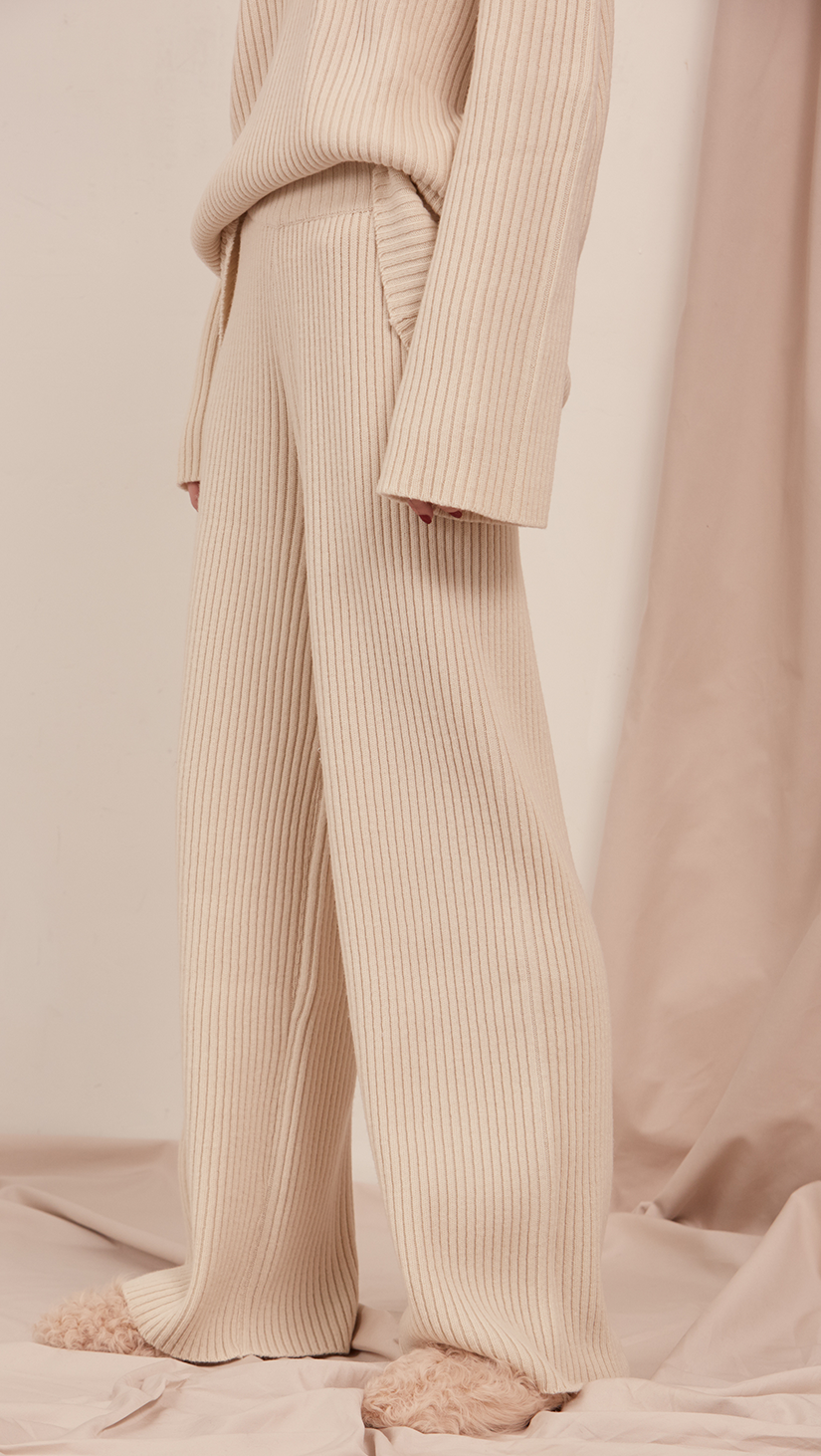 6d78d55c The Copen, superset knit flares in soft ivory. Soft, ribbed texture, wide