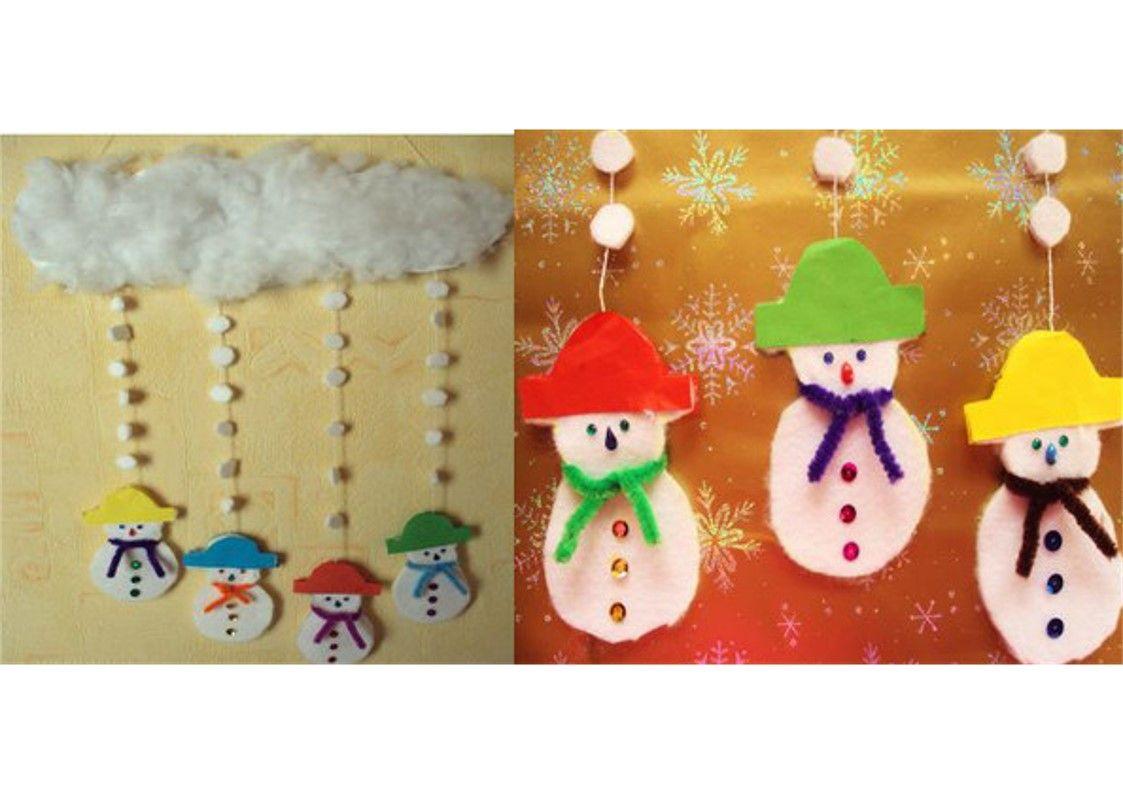 Mobile bonhommes de neige no l activit s coloriages - Mobile noel maternelle ...