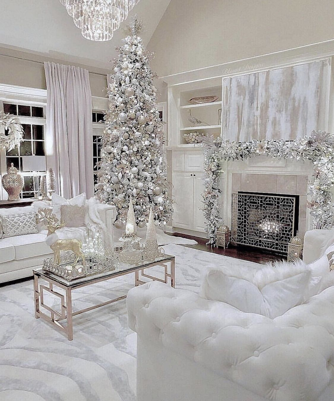 Elegant All White Christmas Living Room Decor With White Velvet Sofas White Christmas Decor Christmas Living Rooms Winter Home Decor #tree #decor #for #living #room