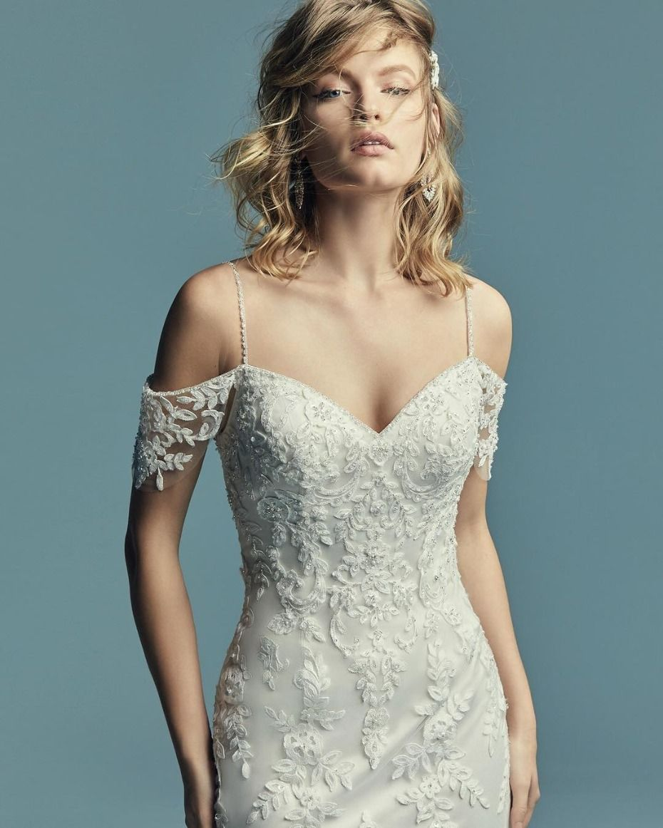f3b6a4c3b0c Maggie Sottero Angelica Gown  Sheath wedding dress with cascading lace  motifs over tulle
