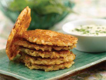 Tortitas de arroz y queso doradas a la sartén