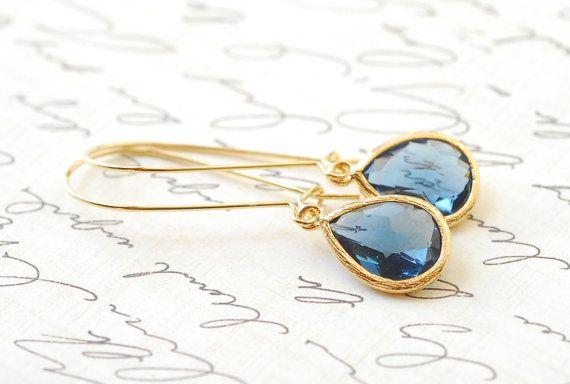 Cadeaux de demoiselle dhonneur de Pierre de naissance saphir bleu boucles doreilles bijoux de mariée Drop boucles doreilles pendantes boucles doreilles Pierre de naissance accessoires bijoux