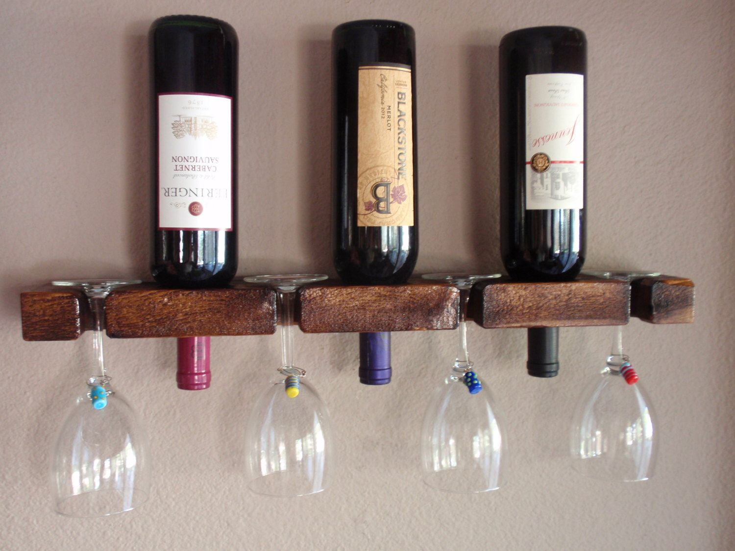 Hanging wine rack with glass holder - Wood Wall Wine Bottle Glass Holder 3 Bottle 4 Glasses Handmade Wall Mount Display