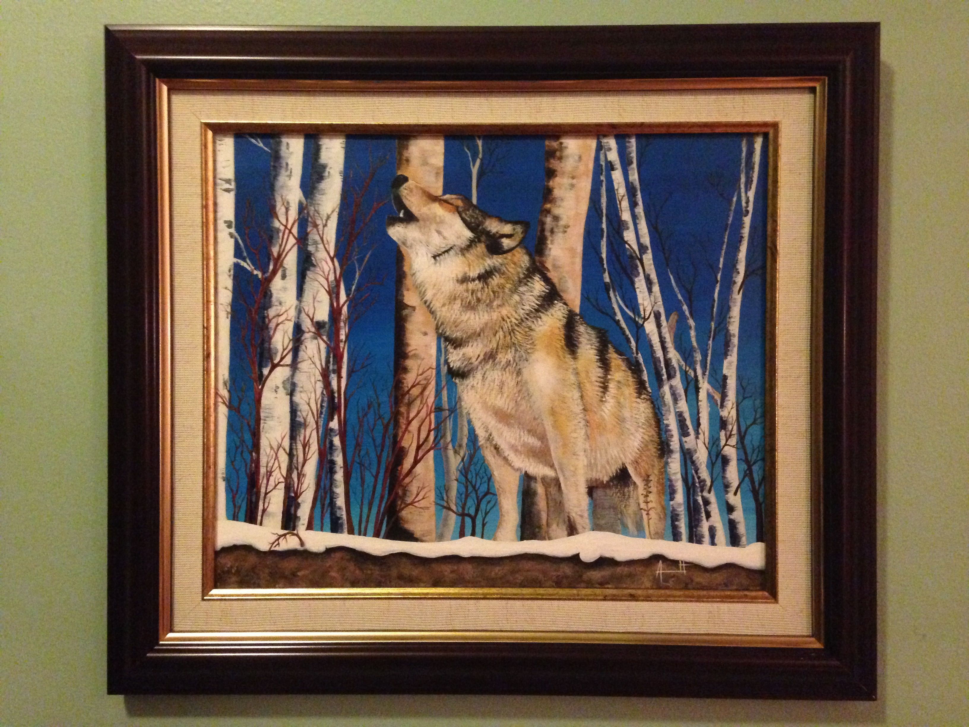 07 - hurlement peinture acrylique sur bois format: 10