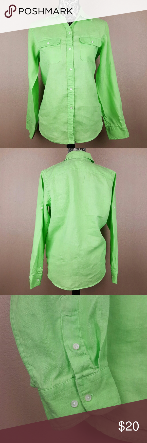 AMERICAN LIVING Lime Green Button Up Size Medium A beautiful lime green button up by American Living from Macy's.  • Size Medium • Laying flat: Length 26 inches,  Underarms across 21 inches. • 100% Linen. Soft, flowy, breezy. • Lime green color. • Machine washable.   Looks great with jeans or tied up on the front with a skirt as shown in the sample pics above. American Living  Tops Button Down Shirts
