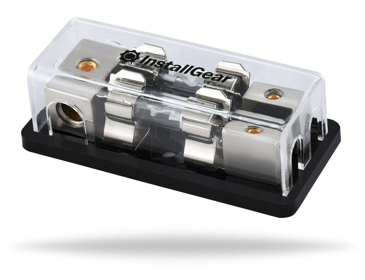 2 8 Gauge Out with 80A Fuses InstallGear 4//8 AWG Gauge AGU Fuse Holder Distribution Block 4 Gauge in to