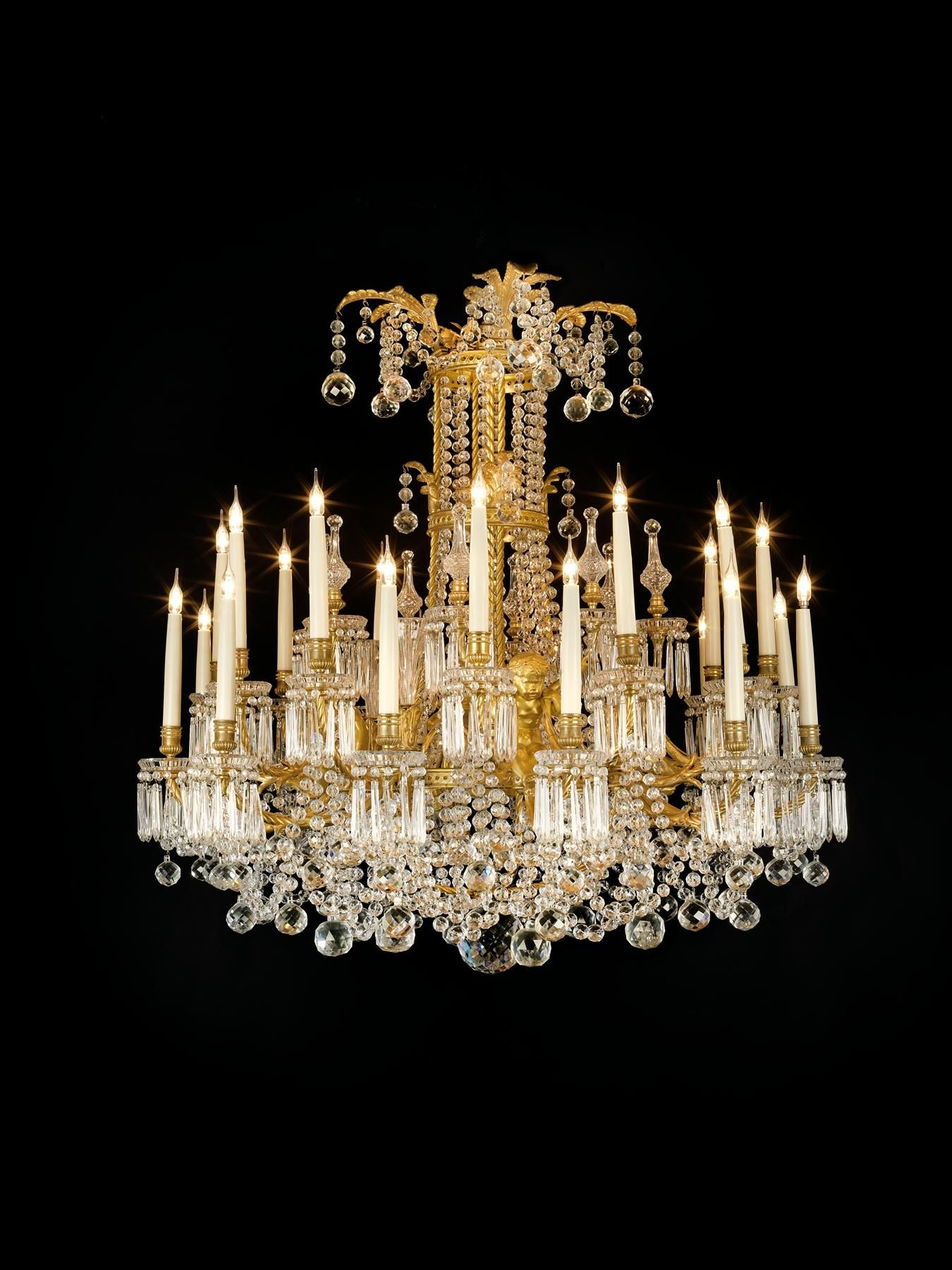 A Fine Gilt-Bronze and Cut-Glass Twenty-Four Light Chandelier Paris, Circa 1890.