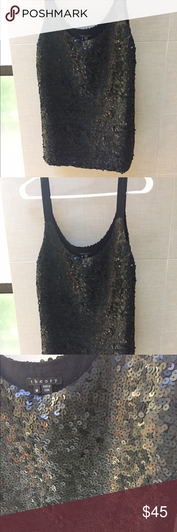 Black sequin top, perfect condition Great looking top Theory Tops