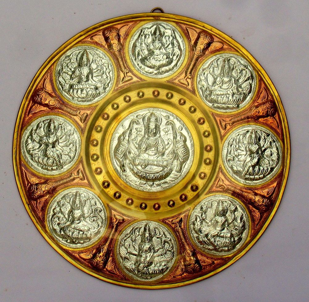 Ashtalakshmi 10 Inch Tanjore Art Shield - Made of Silver, Brass ...