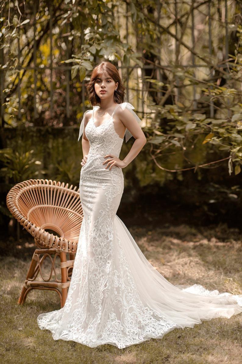 17+ Spaghetti straps mermaid wedding gown information