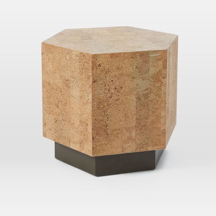 Geo Hex Side Table Cork Side Table West Elm Coffee Table Living Room Side Table