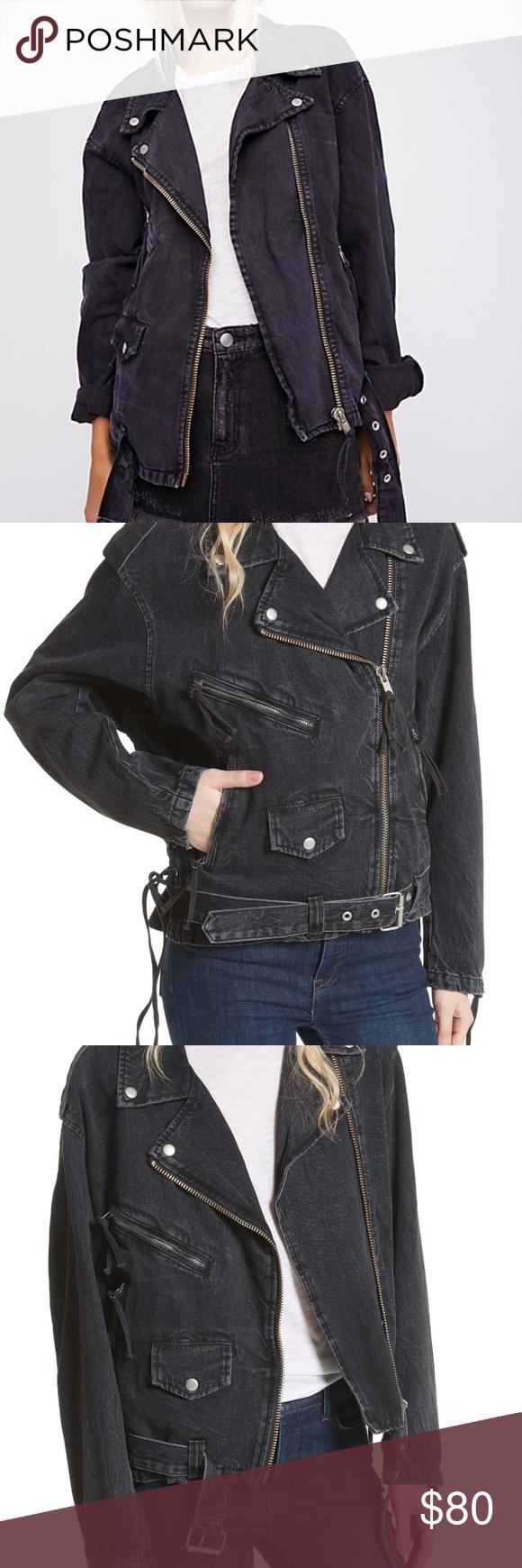 Free People Oversized Moto Lace Up Denim Jacket Fashion Clothes Design Black Denim Jacket