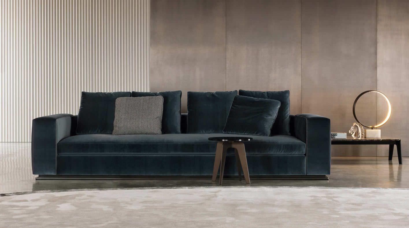 Minotti Sofa Dark Teal Saturated Velvet Colour