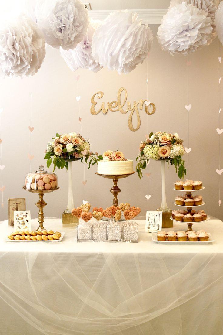 Wedding cake table decoration ideas  bon anniversaire  Blush pink Feminine and Romantic