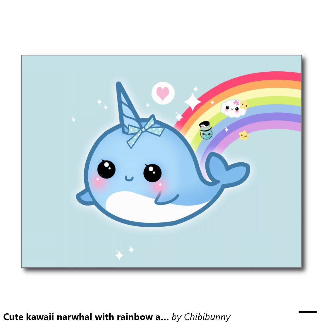 Cute kawaii narwhal with rainbow and sparkle stars postcard | Cuadro ...