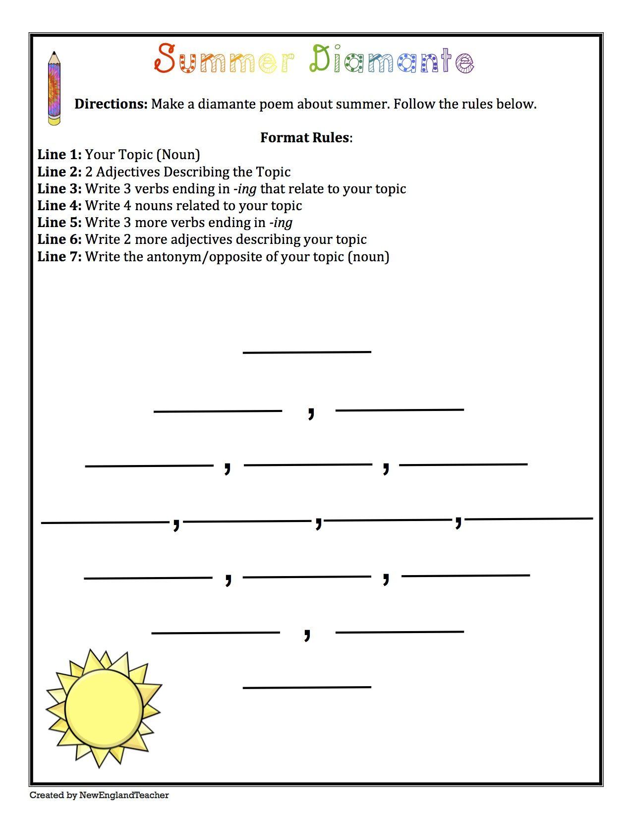 Summer Poetry Pack Haiku Diamante Acrostic Cinquain Grades 3 6 Cinquain Acrostic Poem Template