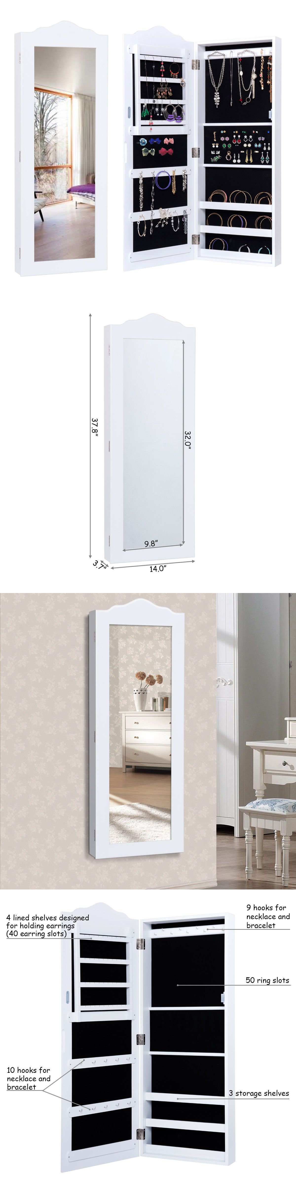Jewelry Boxes 3820 Wall Mounted Mirrored Jewelry Cabinet Armoire