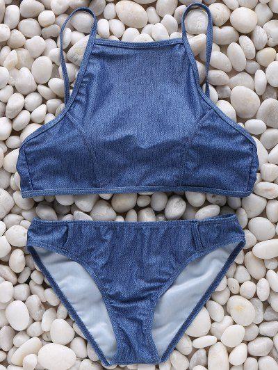 High Neck Denim Print Bikini Set | Psychedelic Monk