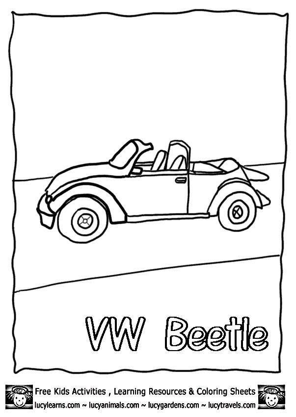 Volkswagen Beetle Cabriolet Free Car Coloring Outline At Lucy Learns Kids Activities