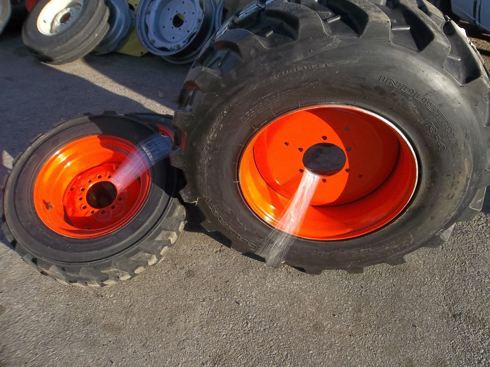 TWO Kubota L3400DT 15X19 5 R4 and TWO 27 8 50x15 R4 Tractor Tires on
