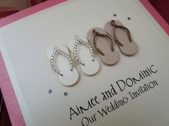 7fccf86fa Flip Flop wedding invitations - perfect for a beach wedding whether at home  or a destination overseas abroad.