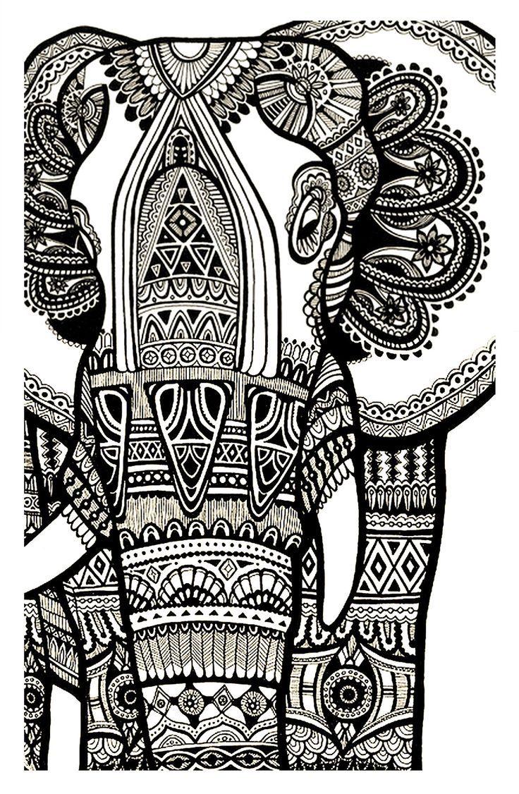 Galerie de coloriages gratuits coloriage elephant gratuit adulte printables pinterest - Mandala adulte ...