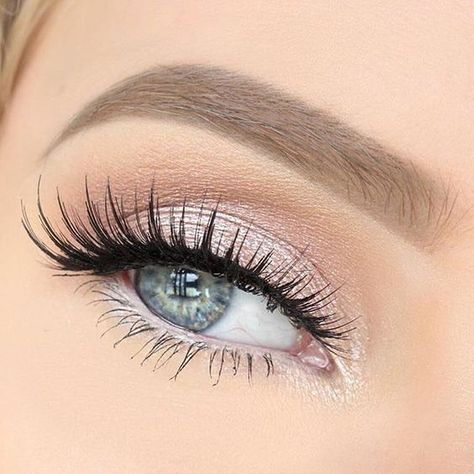 Bridal Shimmery Pink Eyeshadow With Eyelash Extensions For Blue Eyes