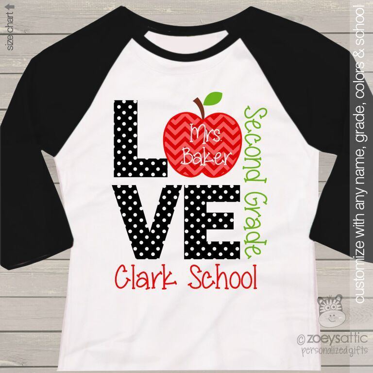 Love school teacher 39 s personalized raglan shirt school for Custom school t shirts