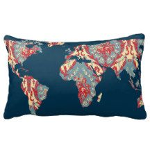 Bohemian Patterned World Map Statement Pillow