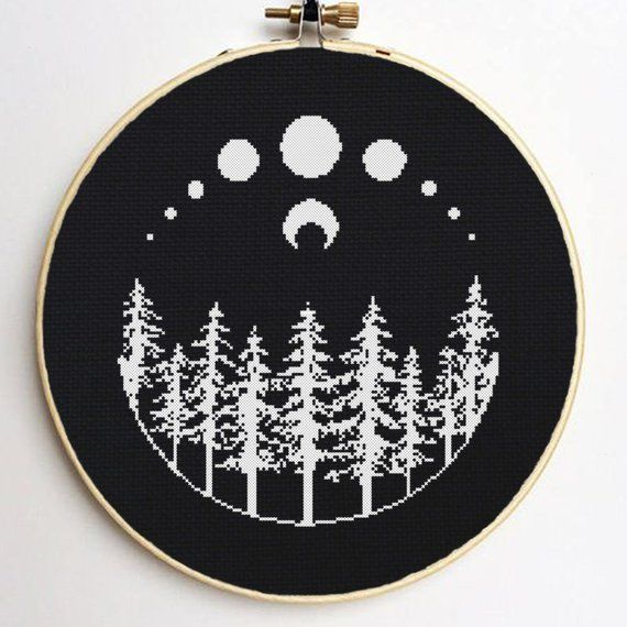Photo of Moon Forest Cross Stitch Pattern Black and White Cross Stitch Witchy Cross Stitch Occult Cross Stitch Full Moon Nature Cross Stitch