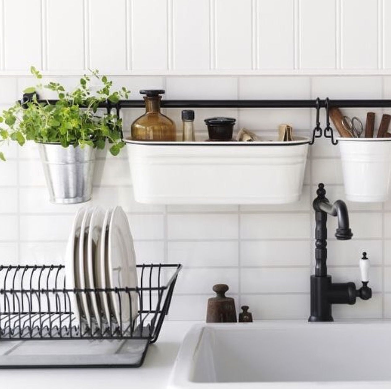 kitchen rail system built in soap dispenser for sink ikea fintorp black apartment ideas pinterest