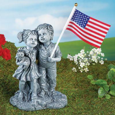 Marvelous Patriotic Boy And Girl Garden Statue