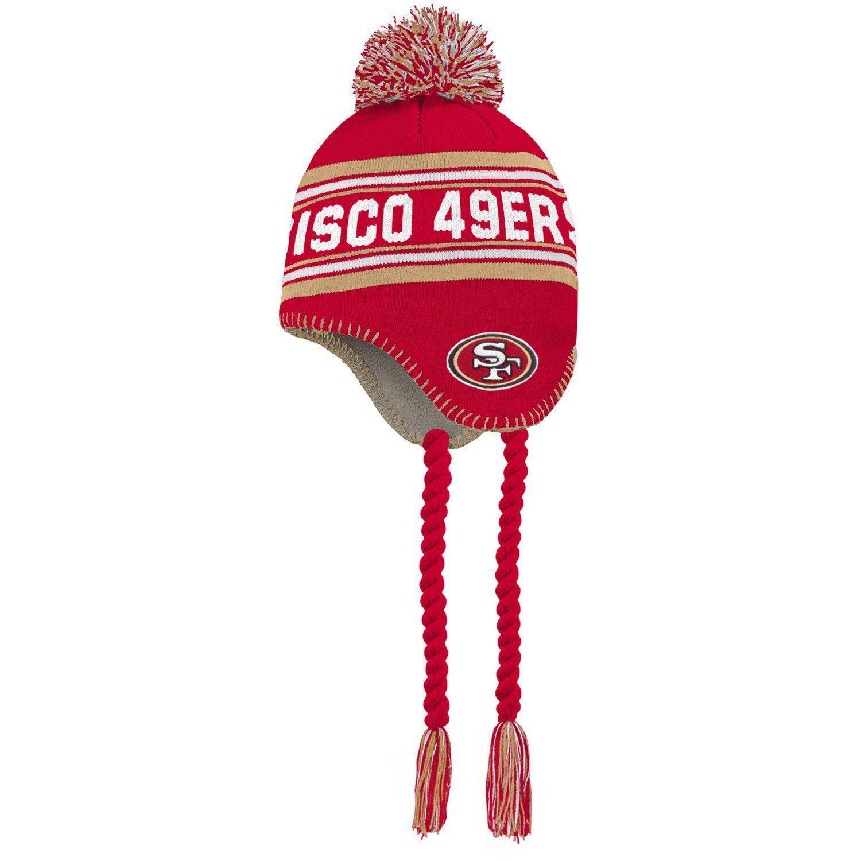 Preschool Scarlet Gold San Francisco 49ers Jacquard Tassel Knit Hat With Pom Knitted Hats San Francisco 49ers Pom Pom