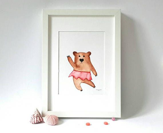Dancing bear painting baby bedroom decor ballerina bear