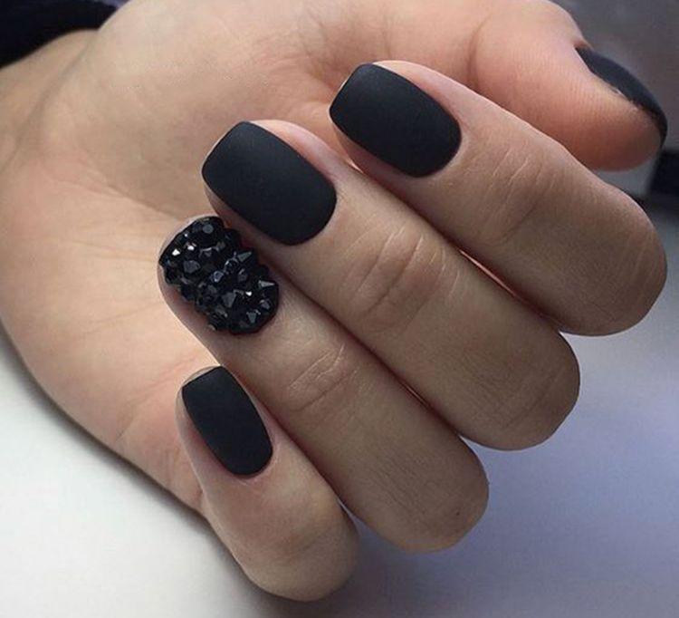 30 Trendy Matte Black Nails Designs