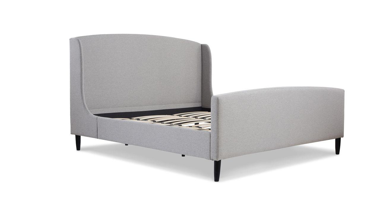 Best Gia Wingback Platform Bed King Light Grey Platform Bed 400 x 300