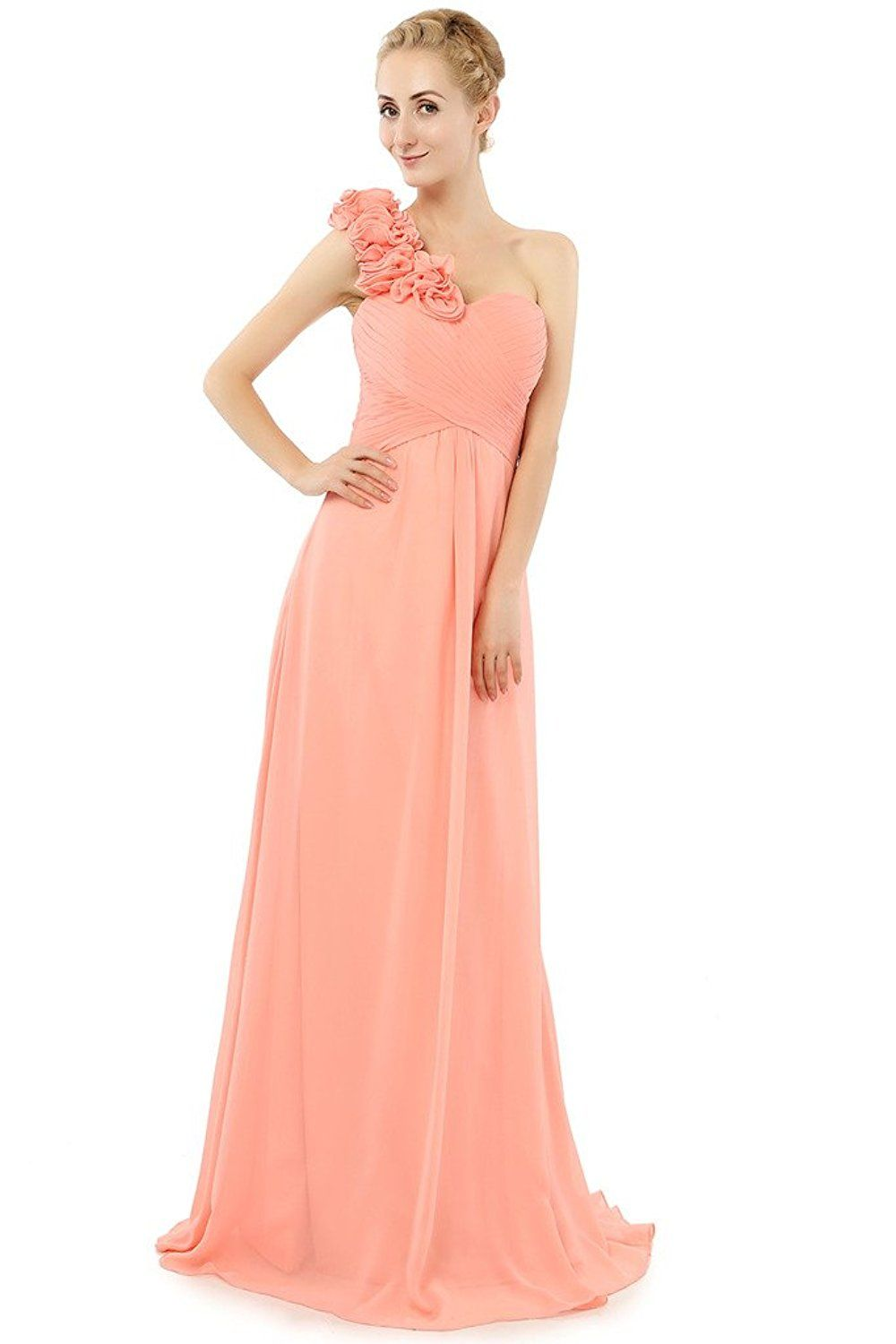 Dressy new star one shoulder bridesmaid chiffon prom dresses long