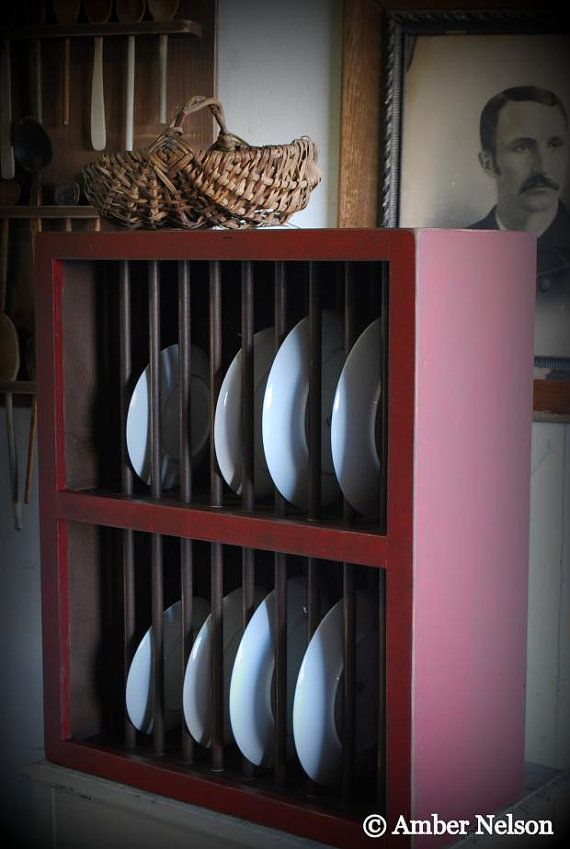 Double Rows Primitive Country Plate Rack Kitchen by redroosterbab $189.99 | make it | Pinterest & Double Rows Primitive Country Plate Rack Kitchen by redroosterbab ...