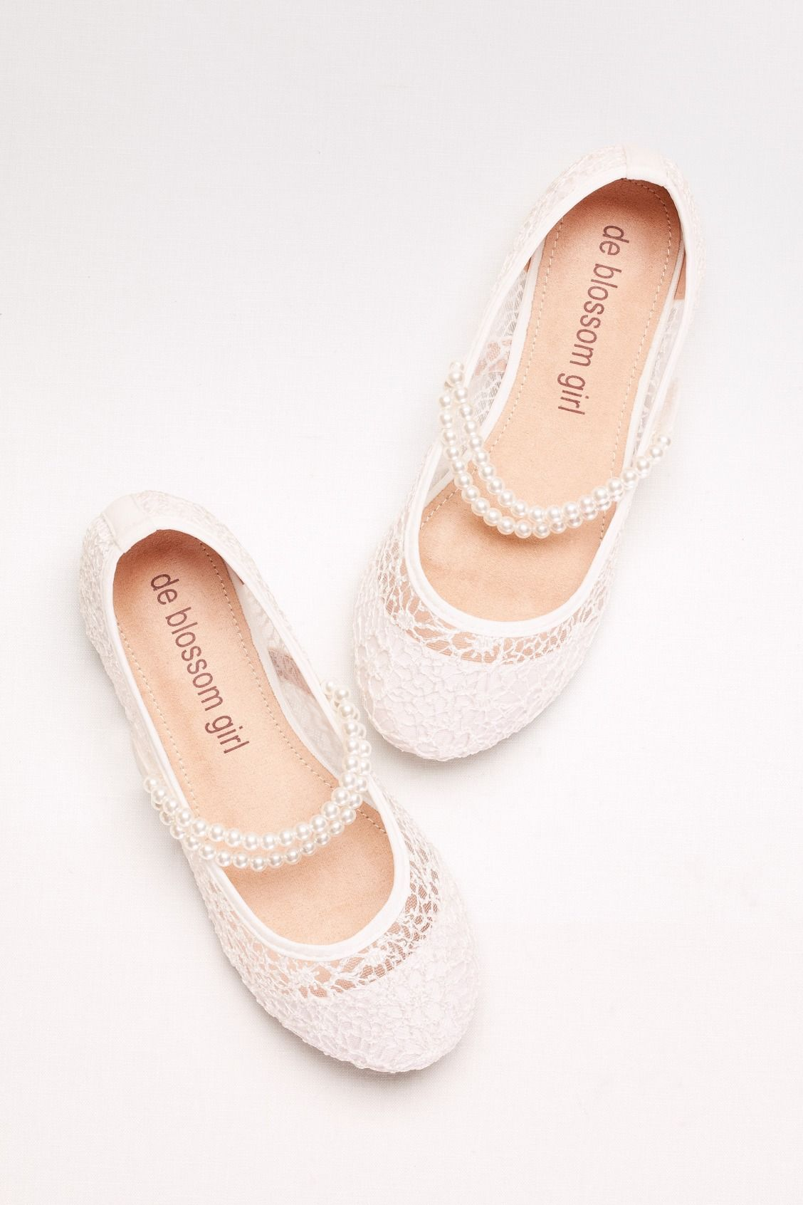 eb2929e57e65 Girls Lace Mary Janes with Pearl Strap by Blossom Girl available at David s  Bridal