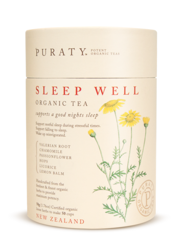 Puraty Sleep Well Organic Tea Organic Teas Tea Packaging Design Sleep Tea