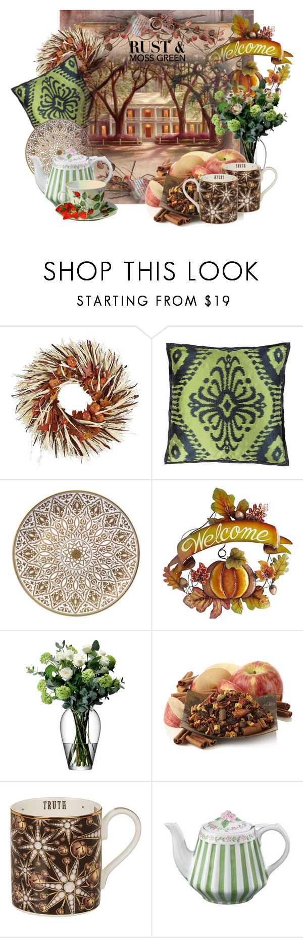 """""""Rust and Moss Green 1."""" by leptismagna ❤ liked on Polyvore featuring interior, interiors, interior design, home, home decor, interior decorating, Pier 1 Imports, Designers Guild, Bernardaud and LSA International"""