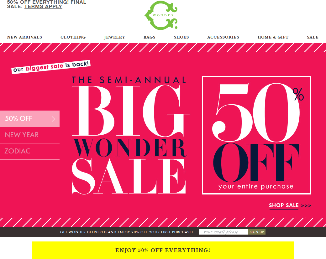 Pinned January 12th: Going out-of-business 50% off everything at #C.Wonder #coupon via The #Coupons App