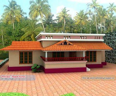 Home Plan And Elevation 1000 Sq Ft Kerala Kerala House Design Village House Design Simple House Design