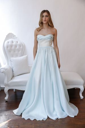 Strapless blue a-line wedding dress with empire waist from Leanne ...