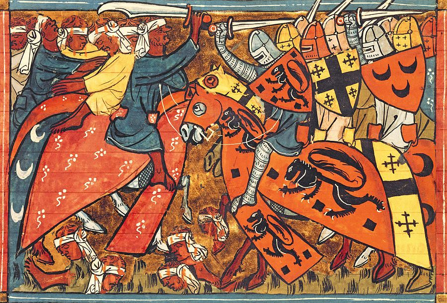 Battle Between Crusaders And Muslims By French School Croisade Art Medieval Premiere Croisade