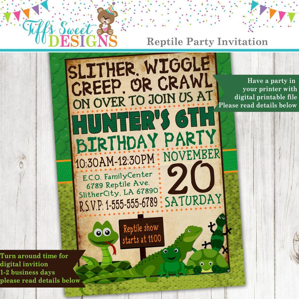 Reptile Party Invitation Frog Snake Lizard Invite Custom