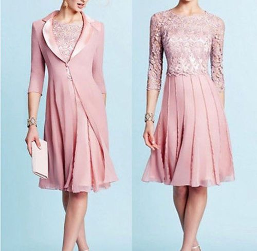Short Pink Mother of the Bride Plus Size Lace Tea Length outfit ...