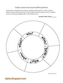 Wh Question Wheel Materials Needed Wh Question Wheel Template And