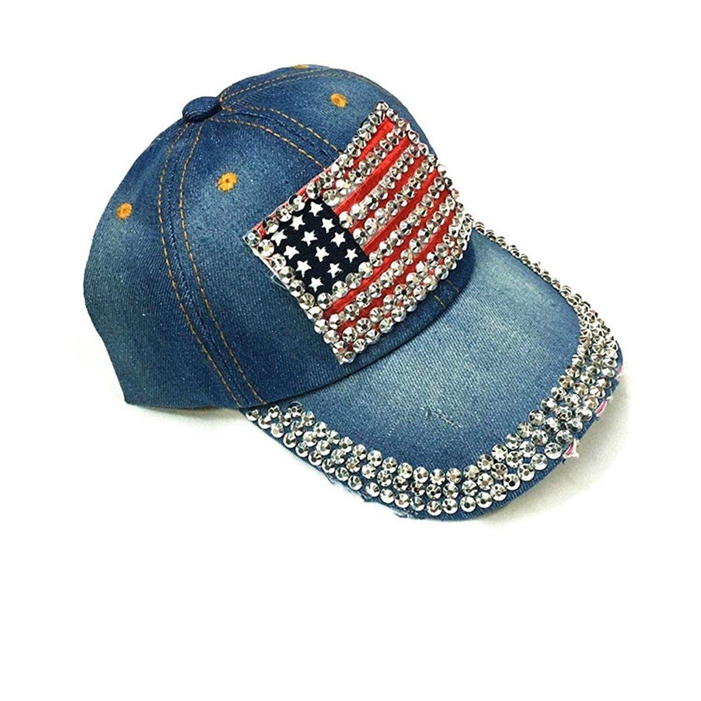 5f31f9a325db6 Women American Flag Rhinestone Jeans Denim Baseball Adjustable Hat ...